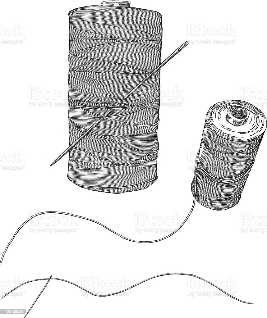 A simple sketch of a needle and thread vector art illustration
