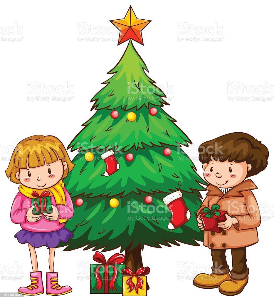 Einfache Skizze Der Kinder In Der Nähe Von Weihnachtsbaum Vektor ...