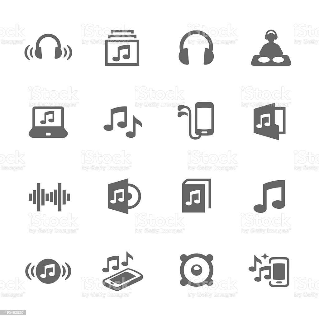 Simple Sound Icons vector art illustration