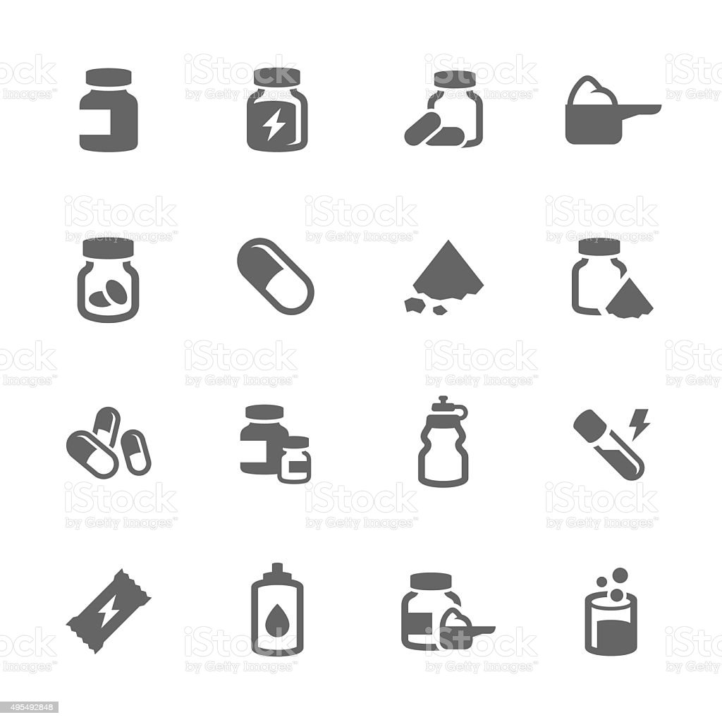 Simple Sport Supplements Icons vector art illustration
