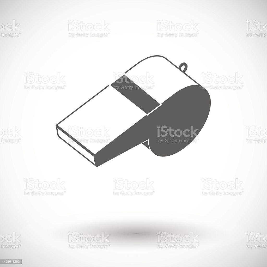 A simple sports icon of a referee whistle vector art illustration