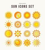 Simple sun icon set summer concept illustrations