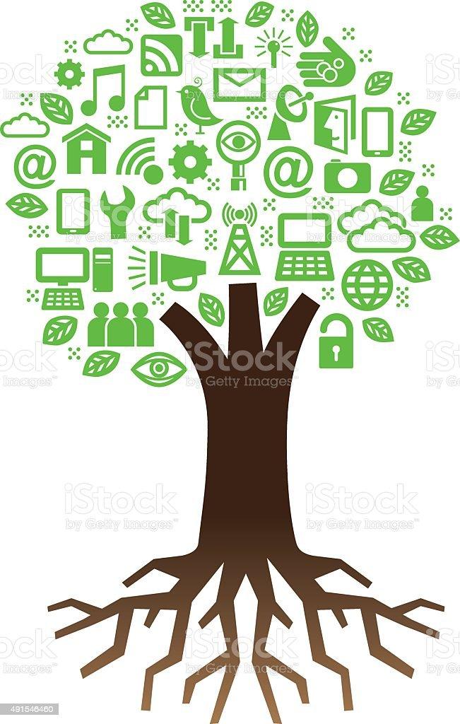 Simple technology tree illustration vector art illustration