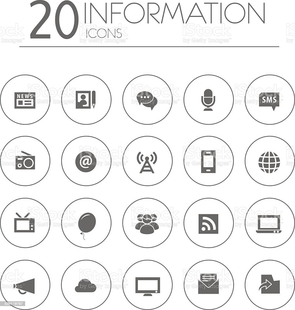Simple thin information icons collection on white background vector art illustration