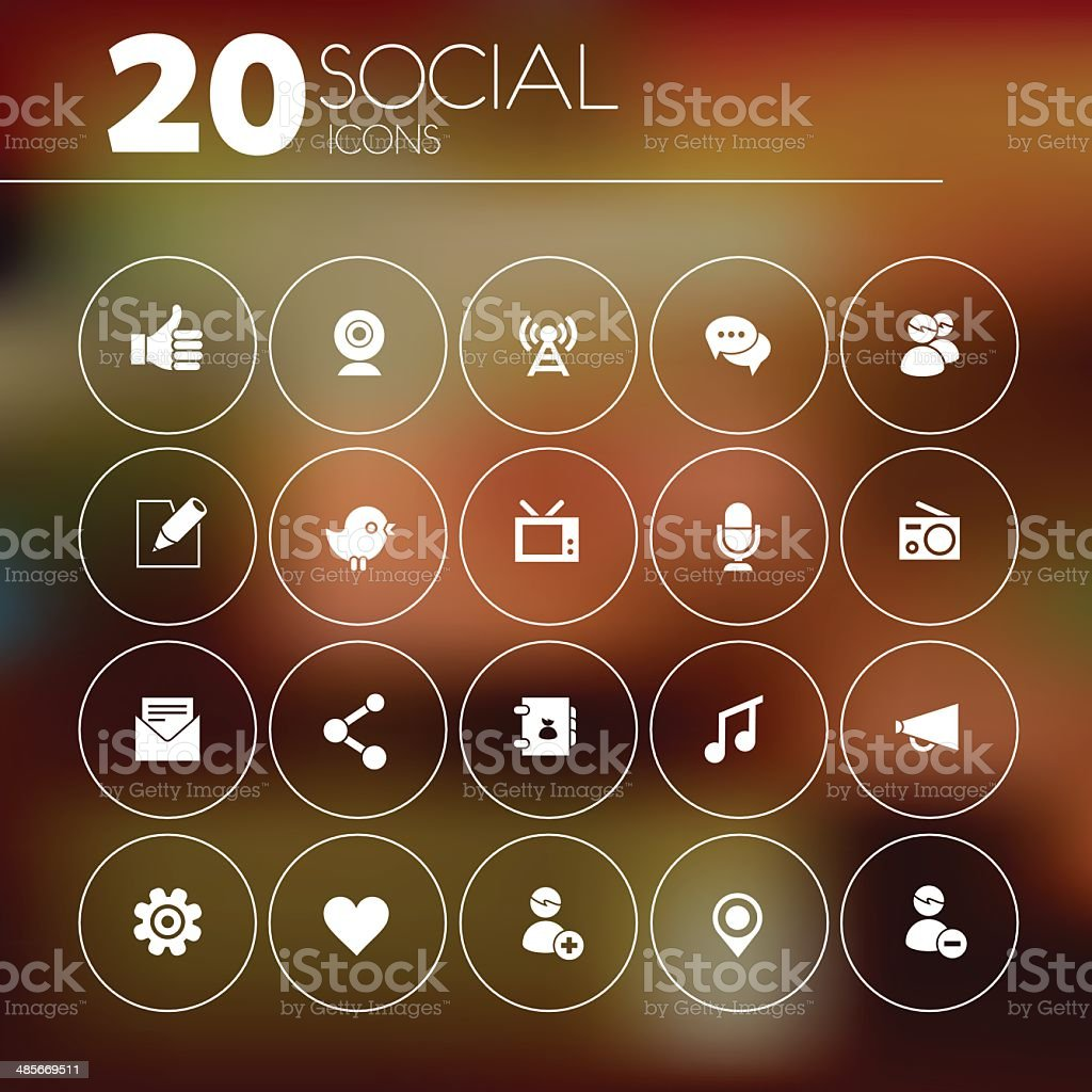 Simple thin social network icon pack royalty-free stock vector art