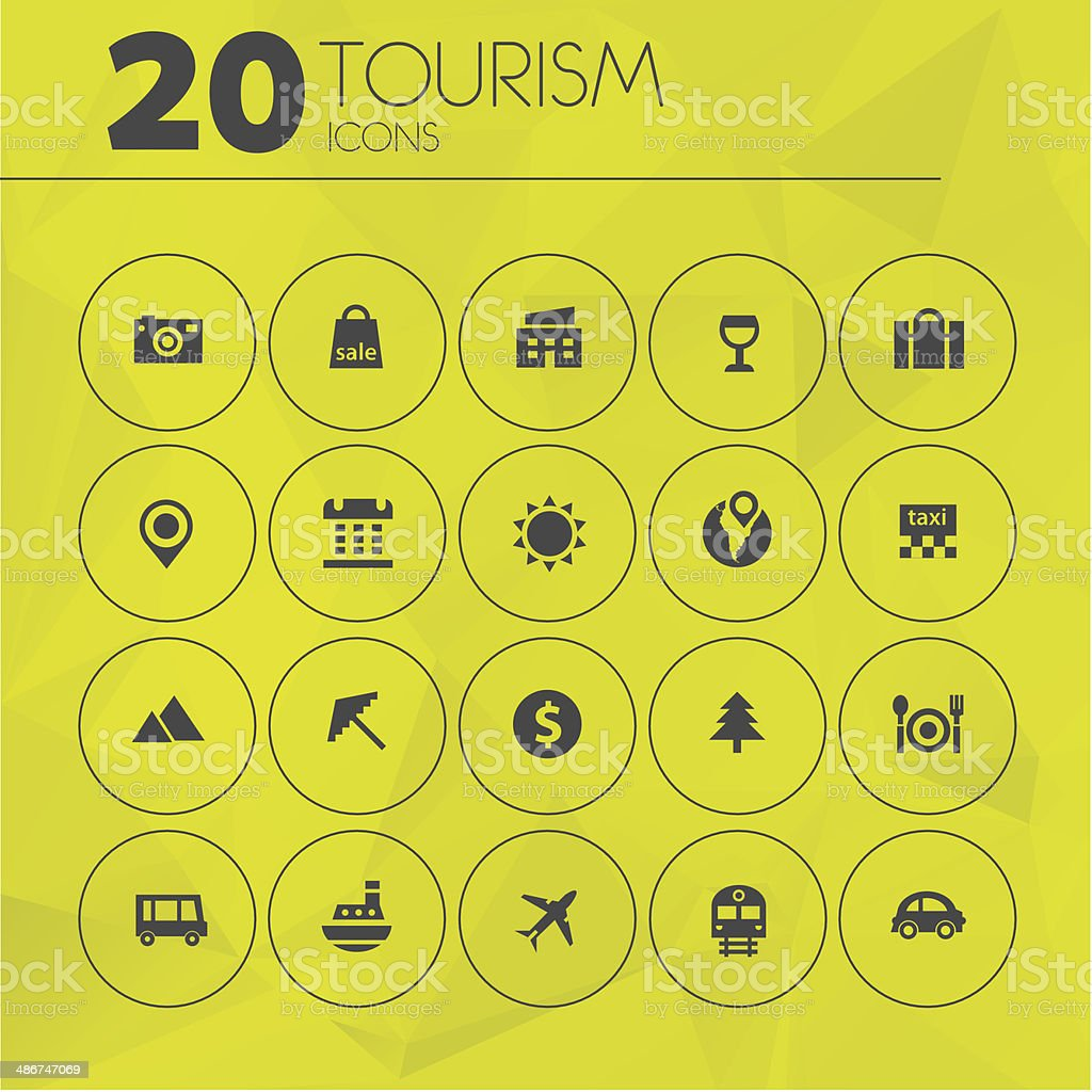 Simple thin tourism icon pack royalty-free stock vector art