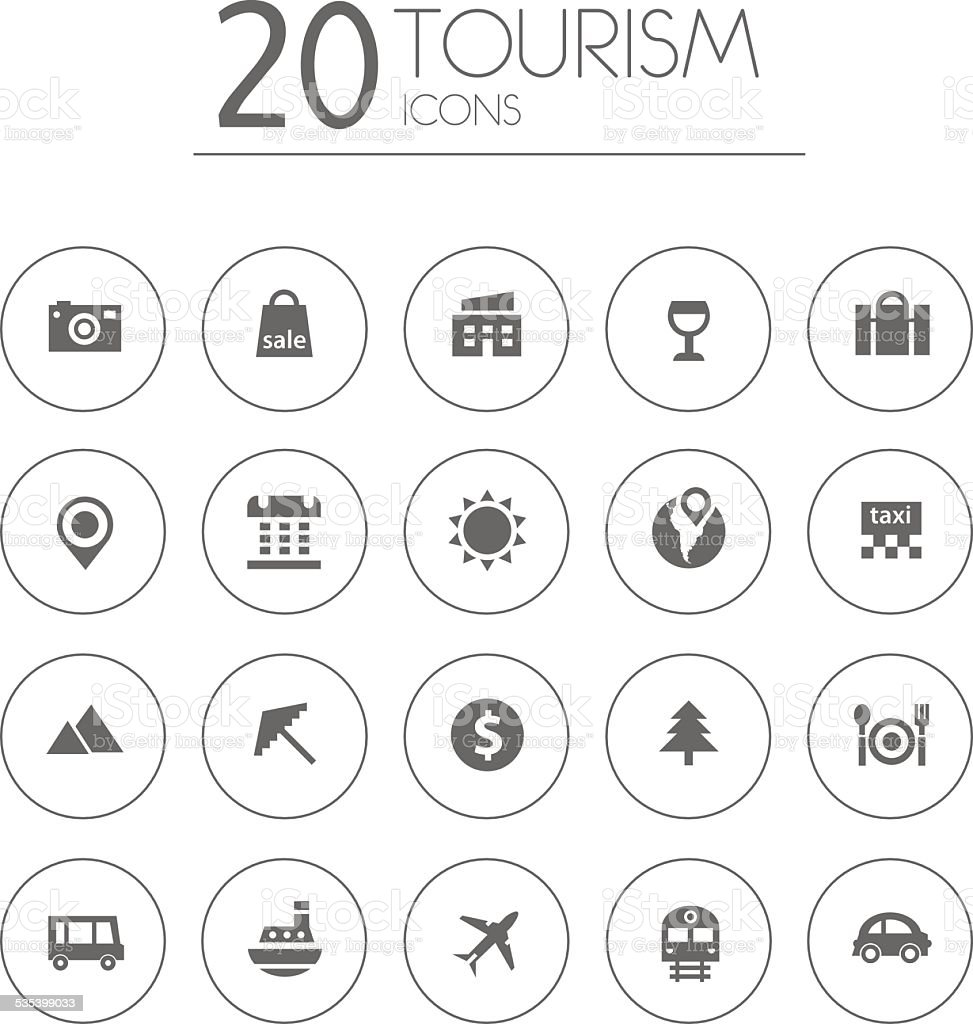 Simple thin tourism icons collection on white background vector art illustration
