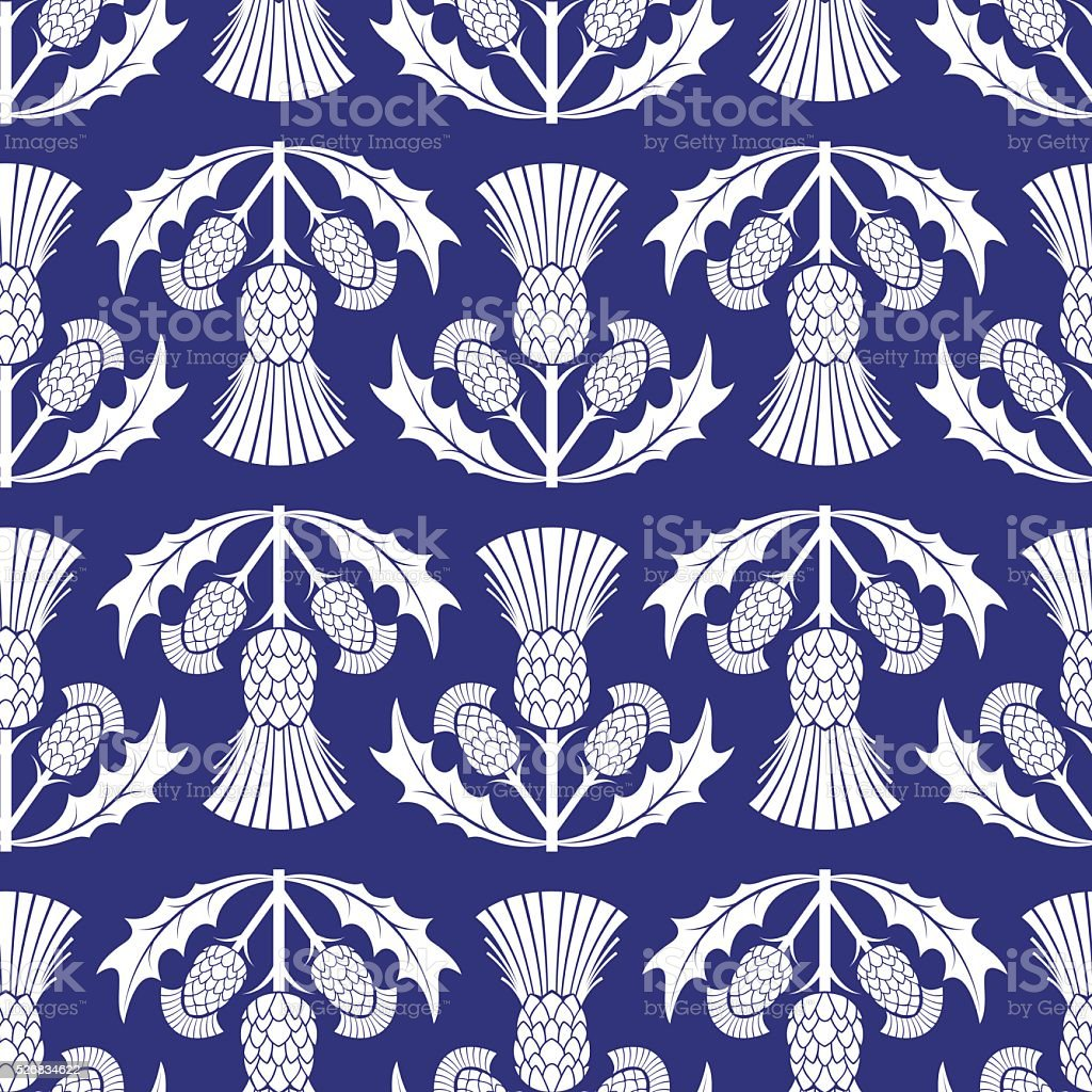 Simple Traditional Style Scottish Thistle Flower Seamless Pattern vector art illustration