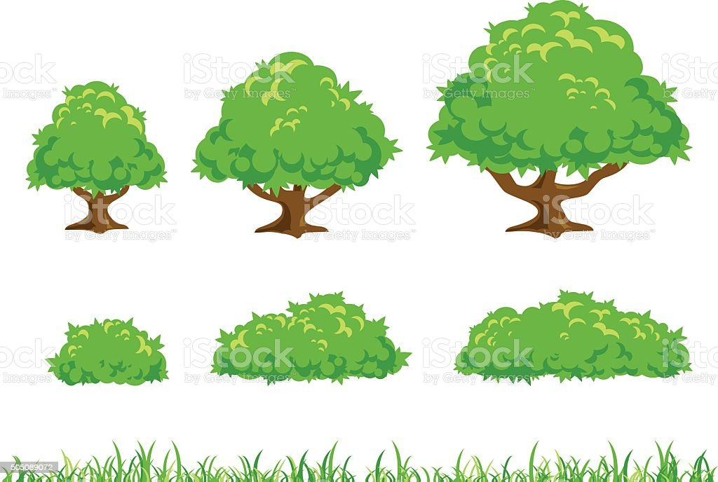 Simple Tree and Bush Illustration vector art illustration