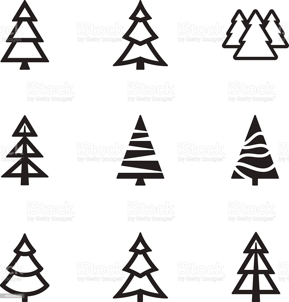 Simple trees collection vector art illustration