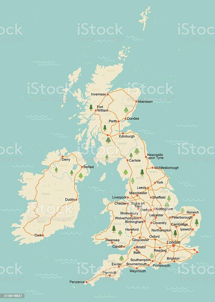 Simple UK map vector art illustration