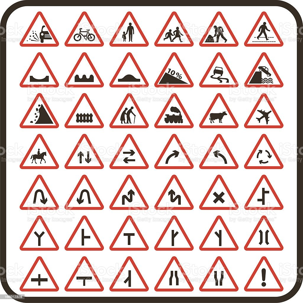Simple UK Road Signs: Cautionary Series vector art illustration