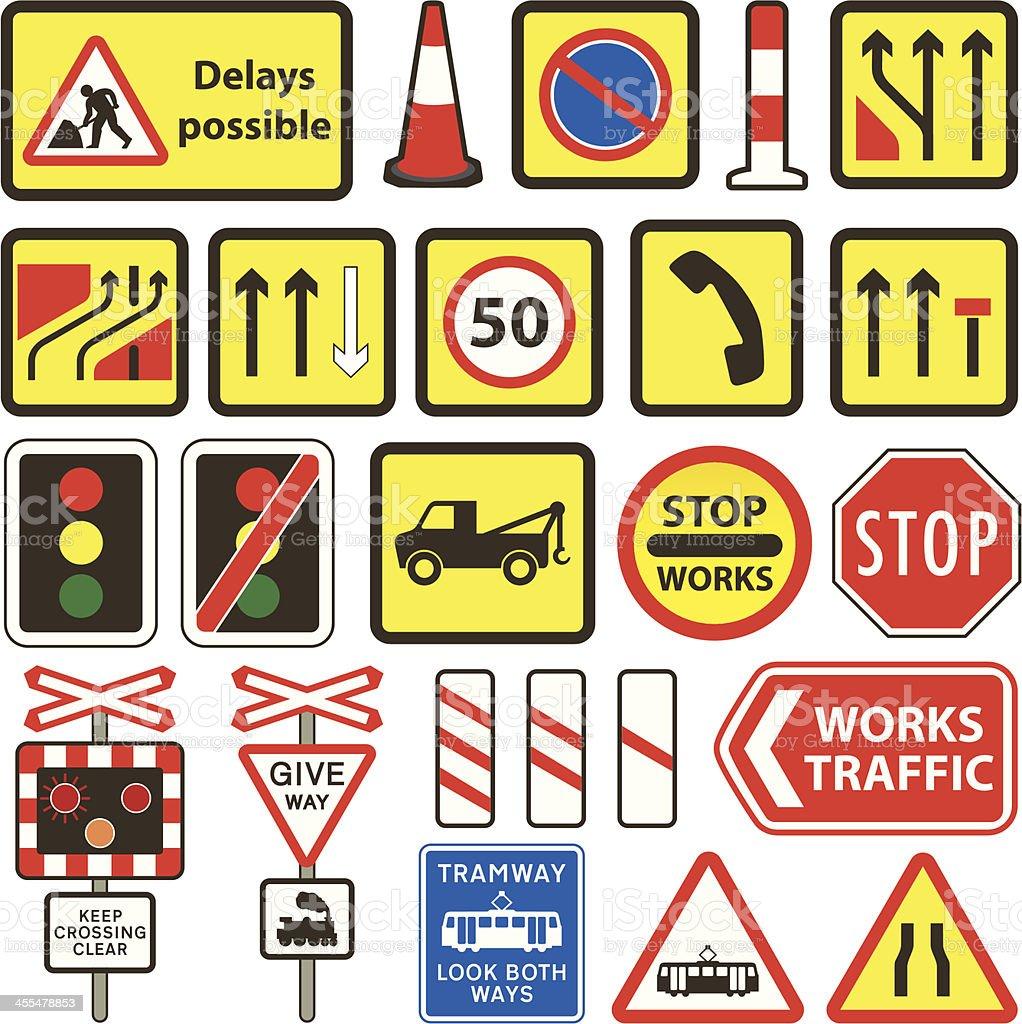 Simple UK Road Works & Level Crossing Signs vector art illustration