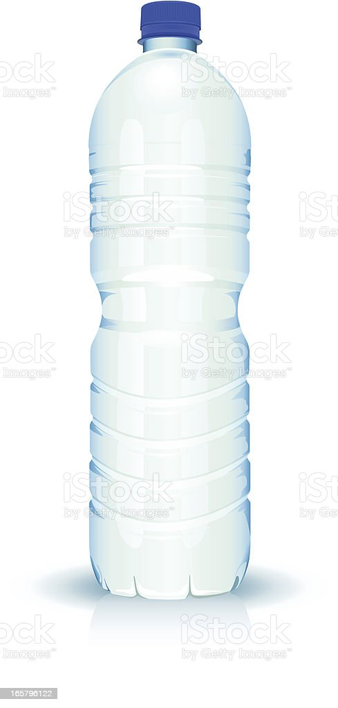 Simple unlabeled clear plastic bottle of water vector art illustration