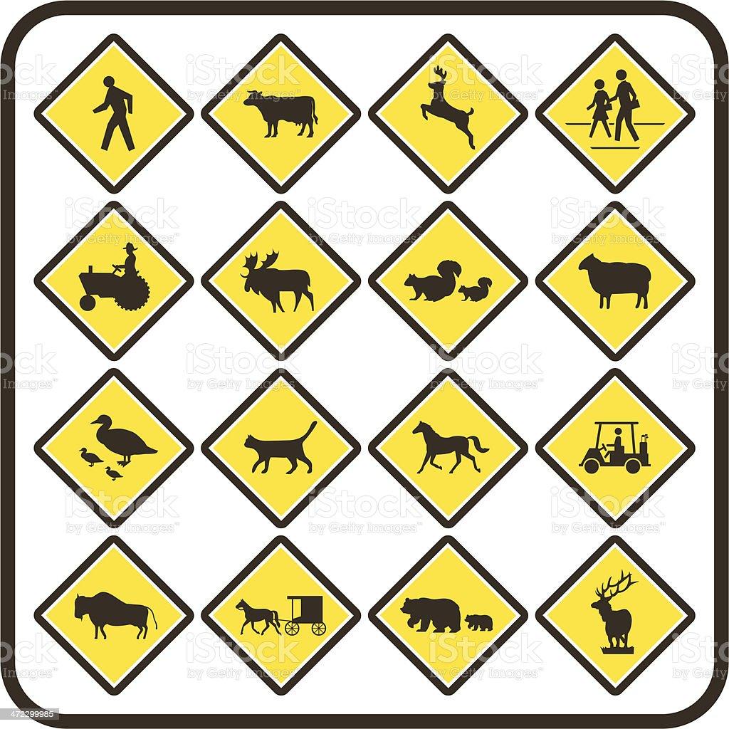 Simple U.S. Crossing Signs vector art illustration