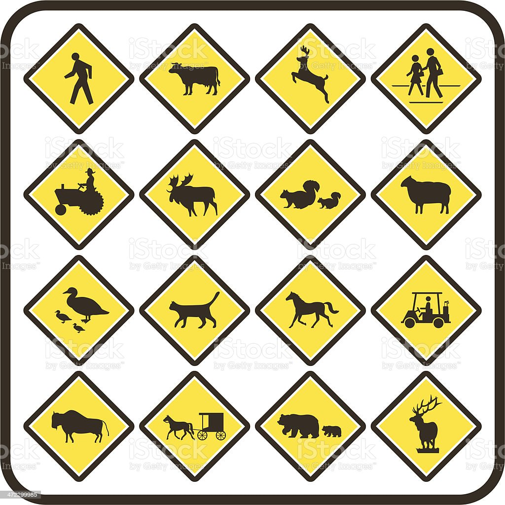 Simple U.S. Crossing Signs vector art illustration