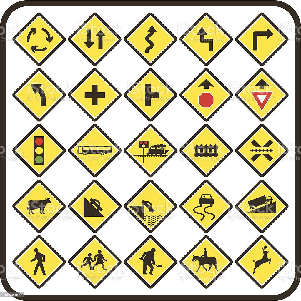 Simple US Road Signs: Warning Series vector art illustration