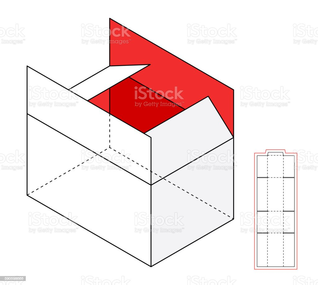 Simple vector box template vector art illustration