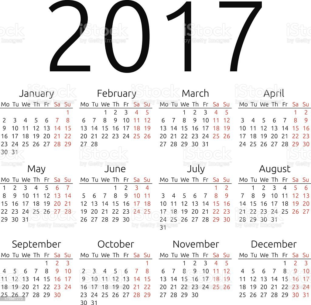 Simple vector calendar 2017 vector art illustration