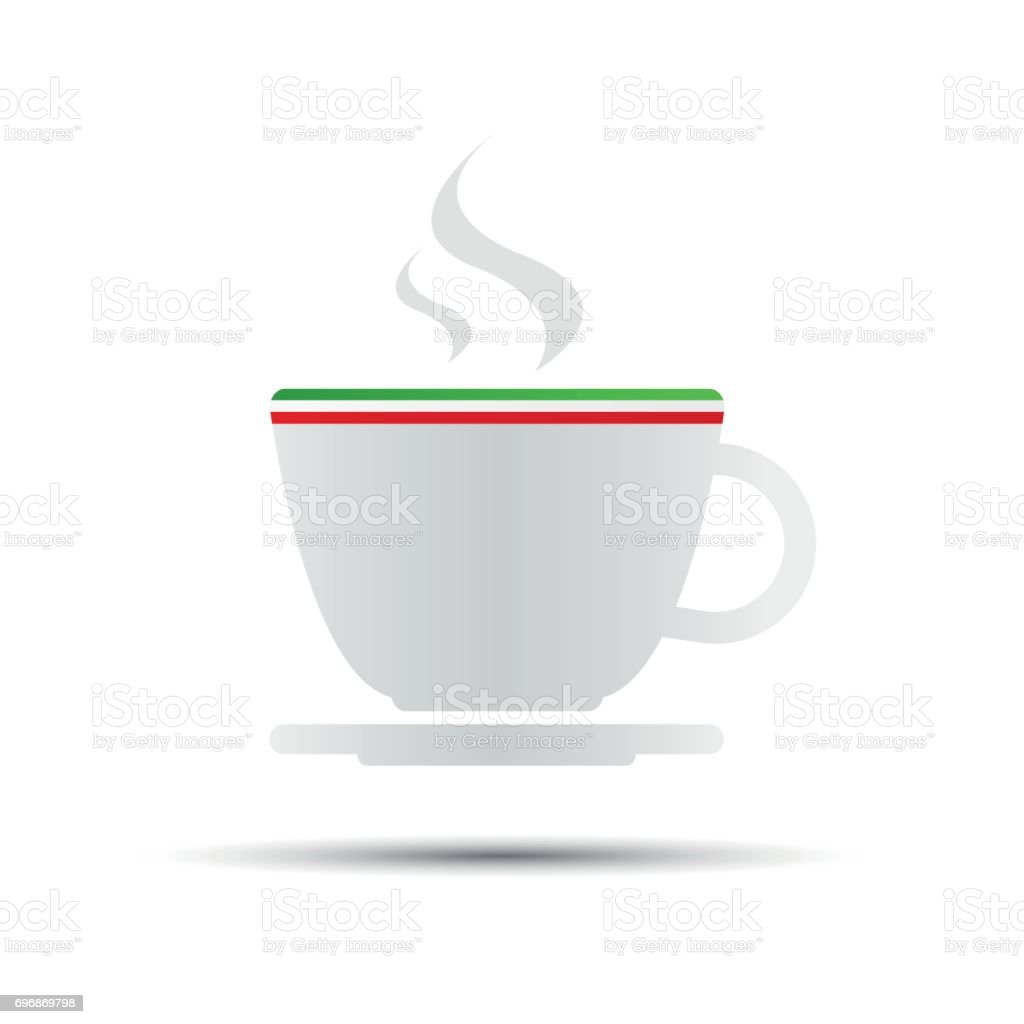 Simple vector coffee icon with italian flag isolated on white background vector art illustration