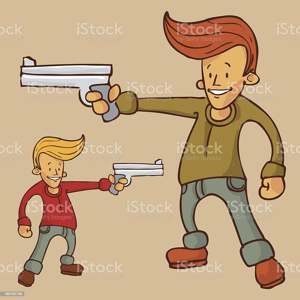 Simple vector guy with gun vector art illustration