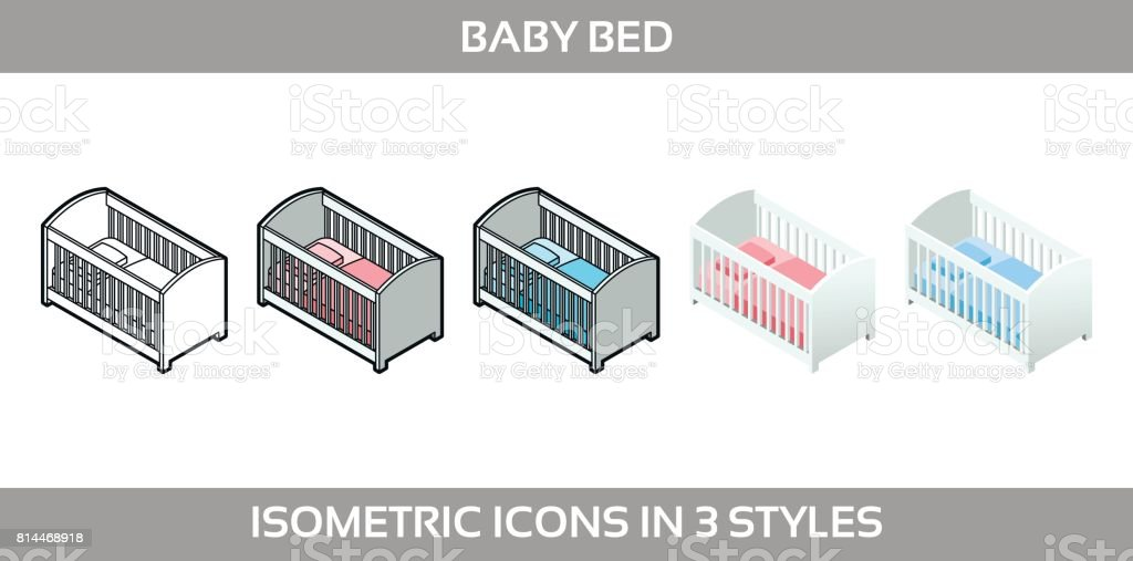 Simple Vector Icons of a classic baby bed for a boy and a girl in three styles. Isometric, flat and line art icons. vector art illustration