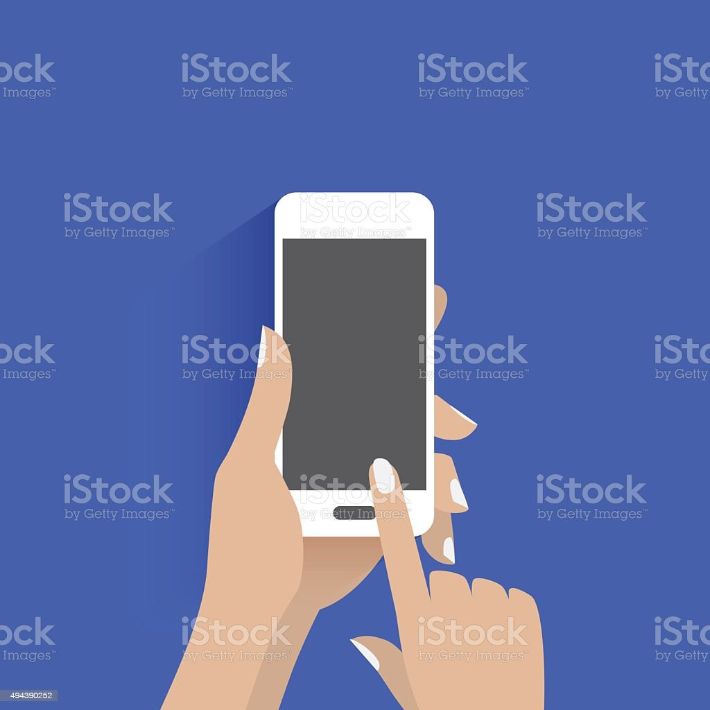 Simple vector of using smart phone. vector art illustration