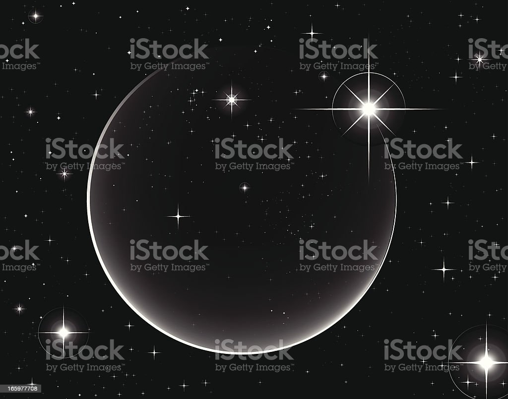 Simple Vector Shooting Star with Circular Light Trail vector art illustration