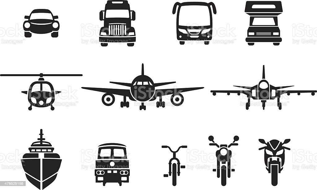 simple vehicle frontview icons vector art illustration