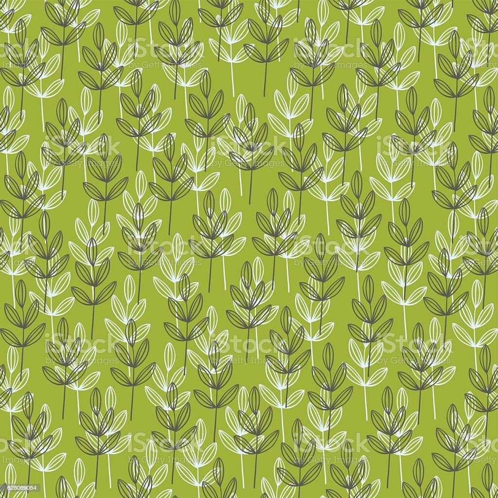 Simple wallpaper with doodle grass. vector art illustration