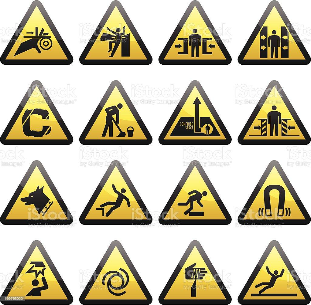 Simple Warning Hazard Signs vector art illustration