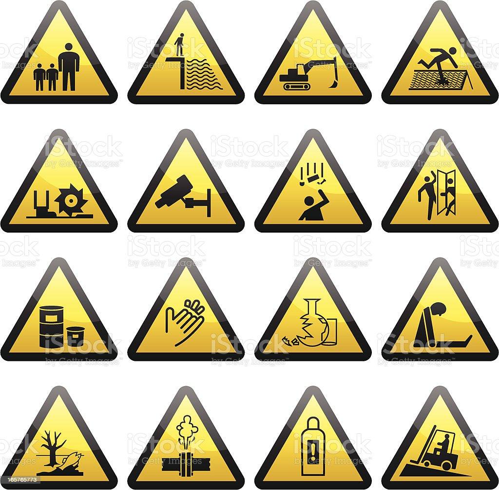 Simple Warning Hazard Signs royalty-free stock vector art