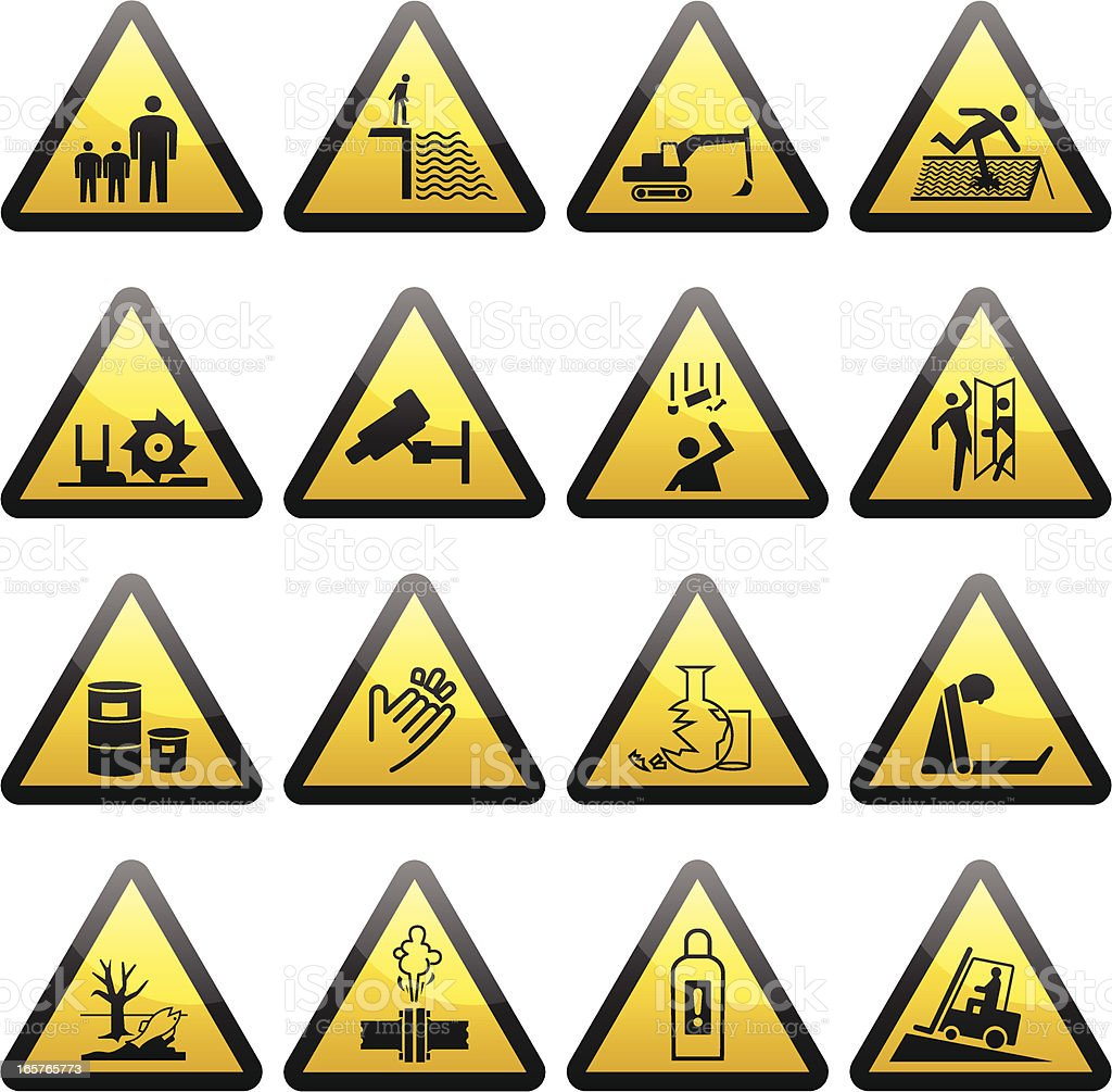 Simple Warning Hazard Signs vector art illustration