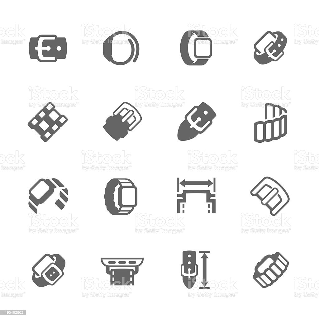 Simple Watch Band Icons vector art illustration