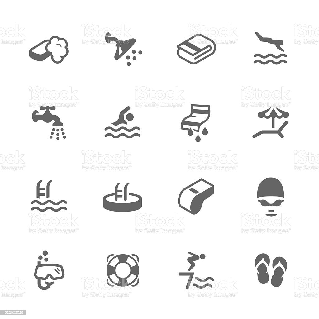 Simple Water Pool Icons vector art illustration