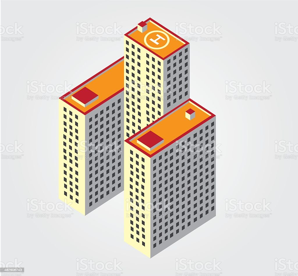 Simple Web Icon In Vector Isometric City Building stock vector art ...