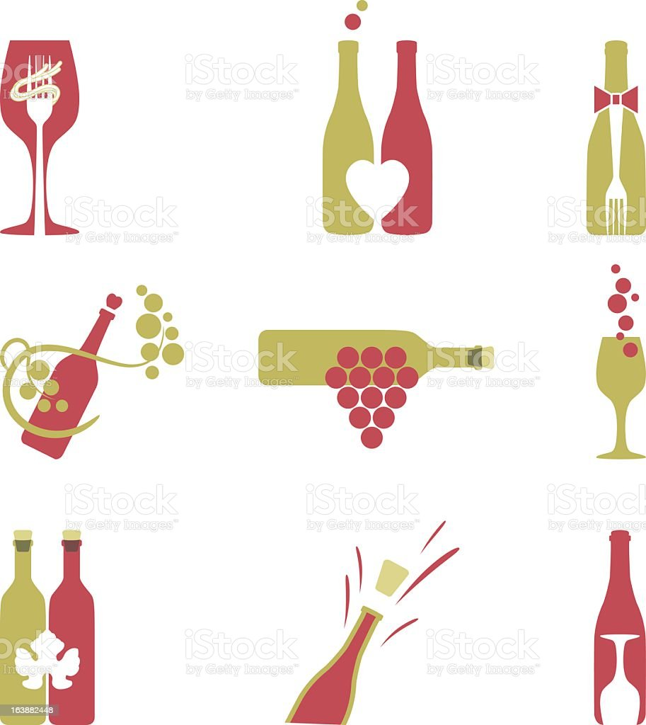 Simple Wine Icons vector art illustration
