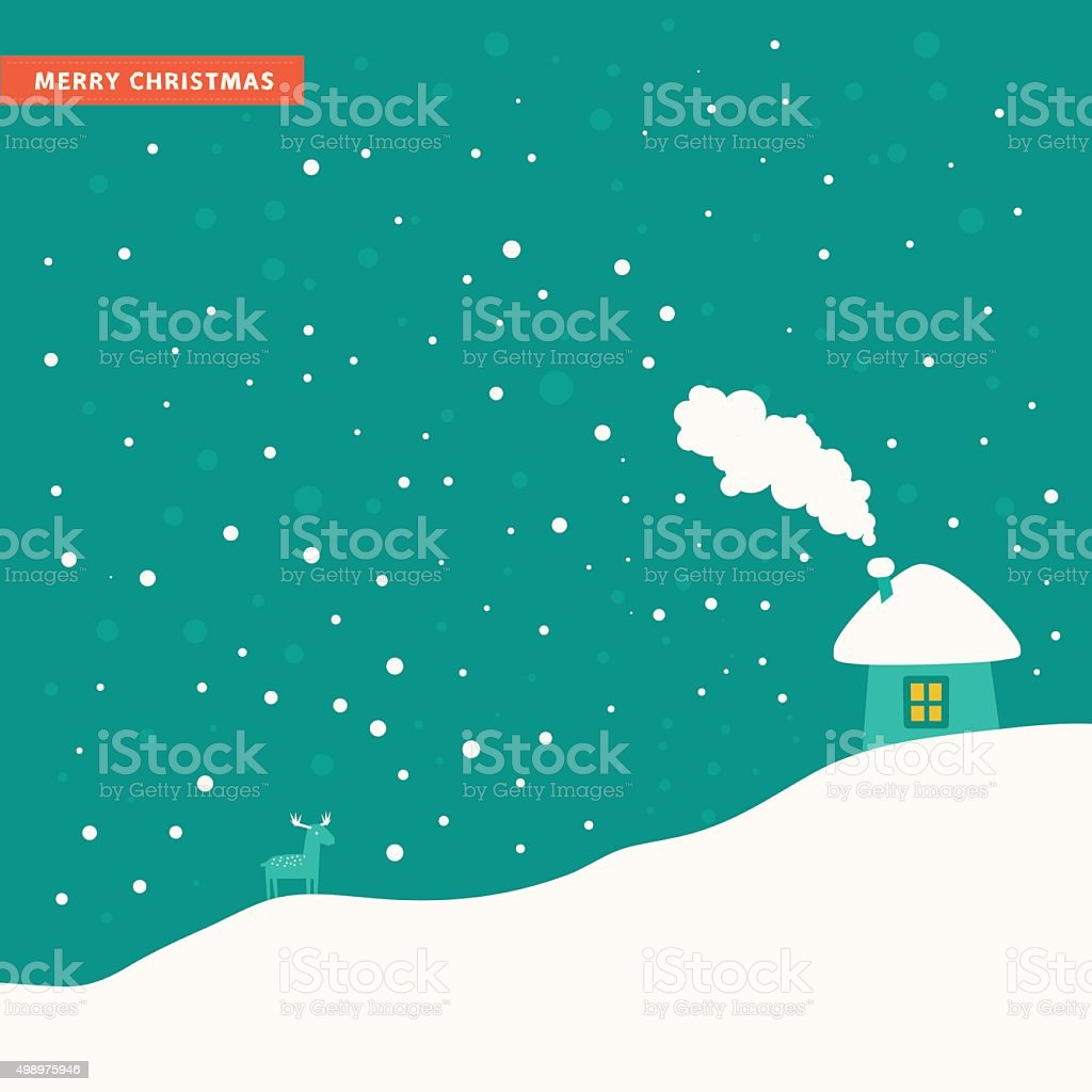 Simple winter landscape with house, snow hills and deer vector art illustration