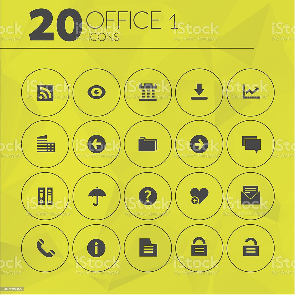 Simple Yellow Thin Office 1 Icons royalty-free stock vector art