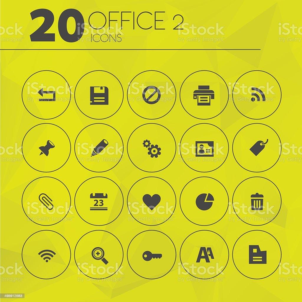 Simple Yellow Thin Office 2 Icons vector art illustration