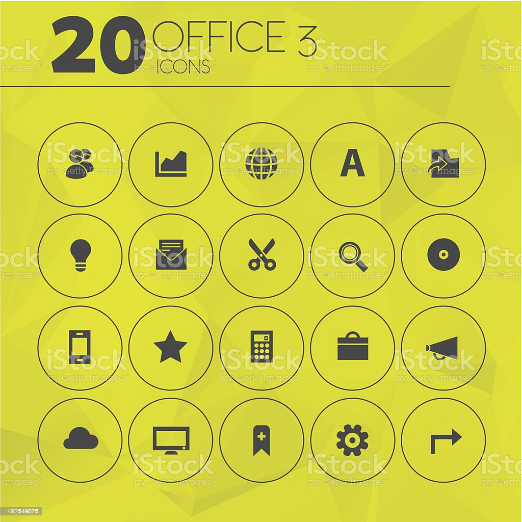 Simple Yellow Thin Office 3 Icons royalty-free stock vector art