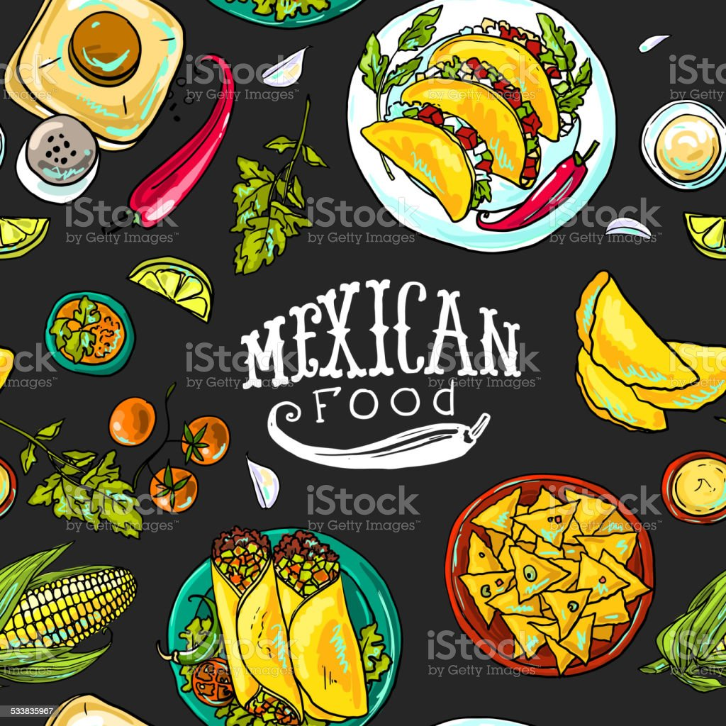 simpless pattern mexican food vector art illustration