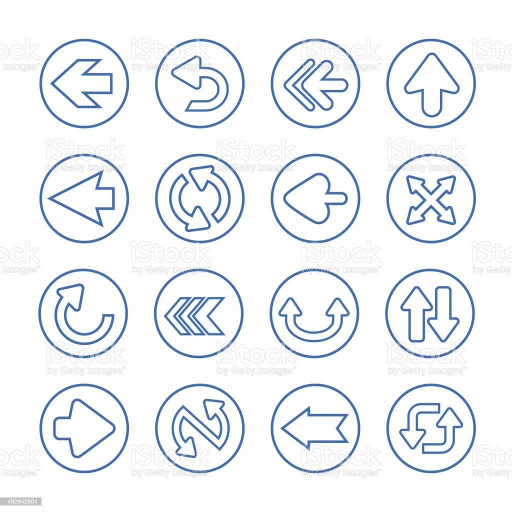 simplicity arrows set button vector art illustration