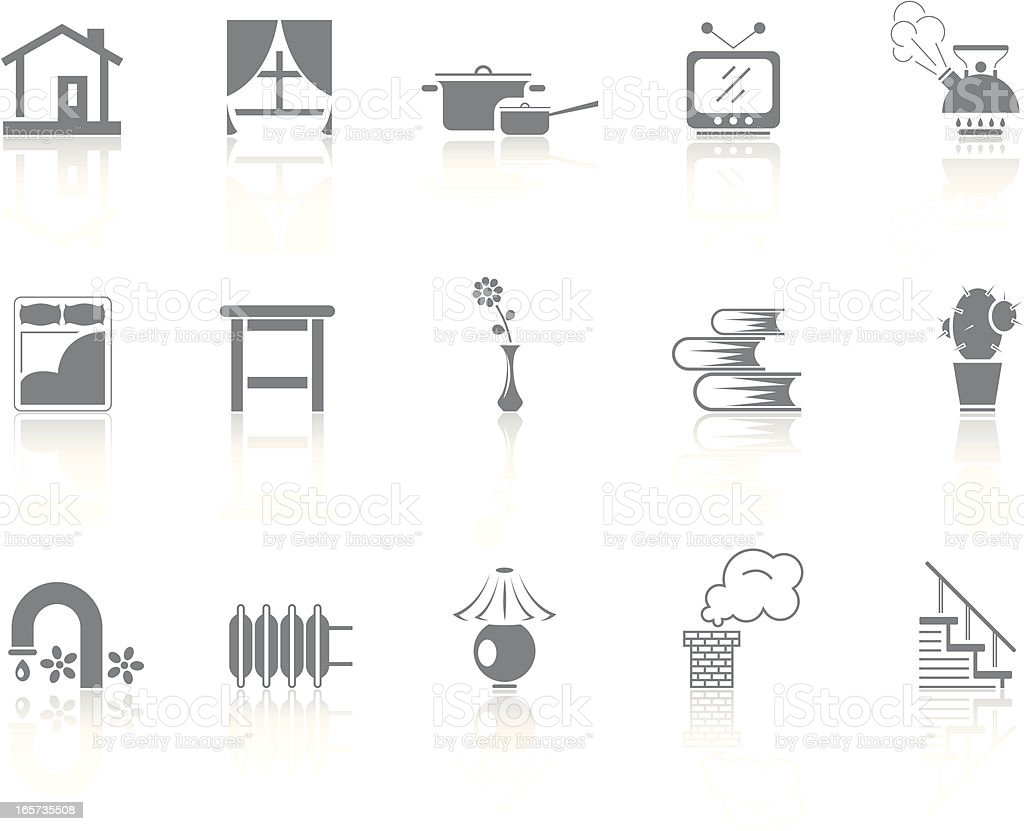 Simple icons – Home vector art illustration