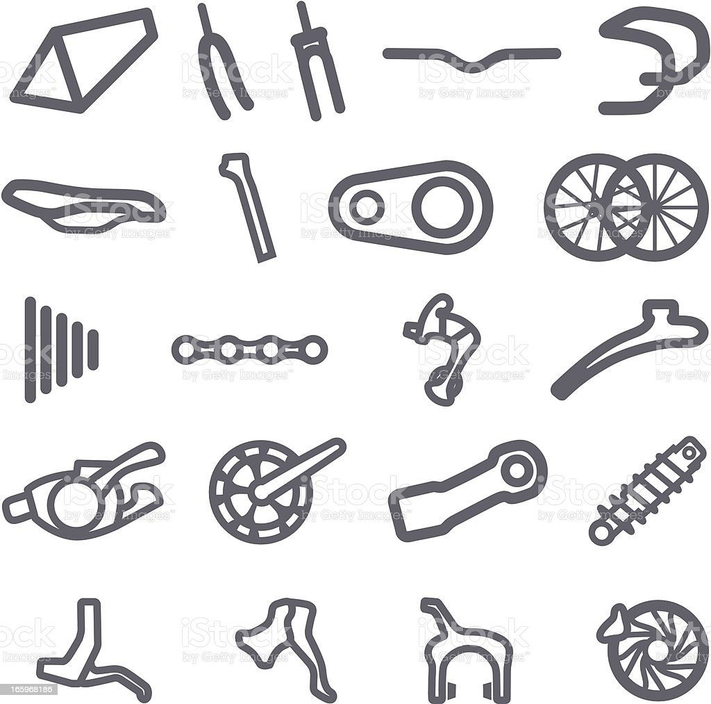 Simplified Bike Part Icons vector art illustration