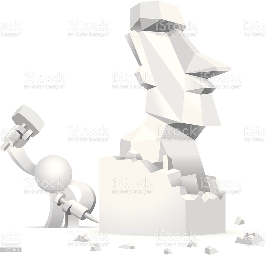 Simplified man Carving A Easter Island Sculpture vector art illustration