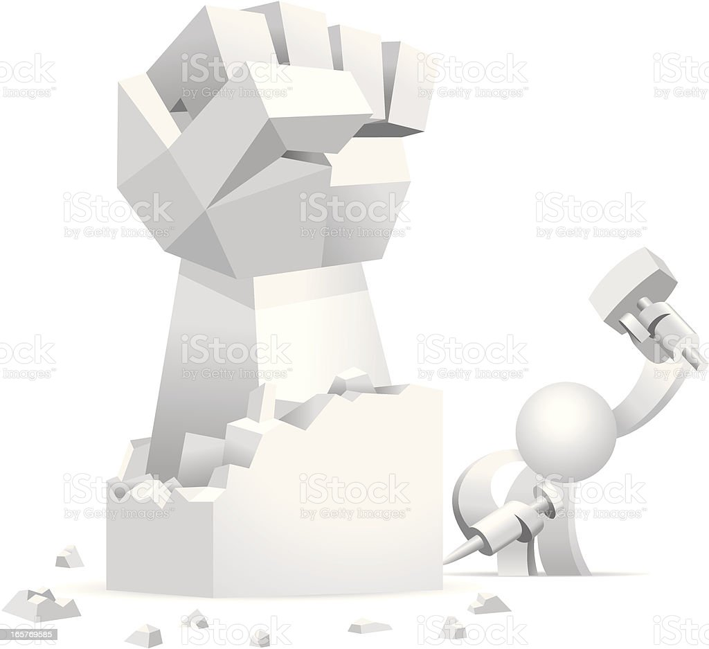 Simplified man Carving A Rough Fist Sculpture royalty-free stock vector art