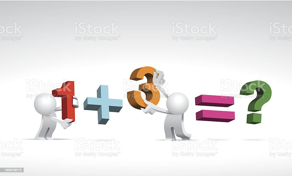 Simplified man Mathematics One plus Three royalty-free stock vector art