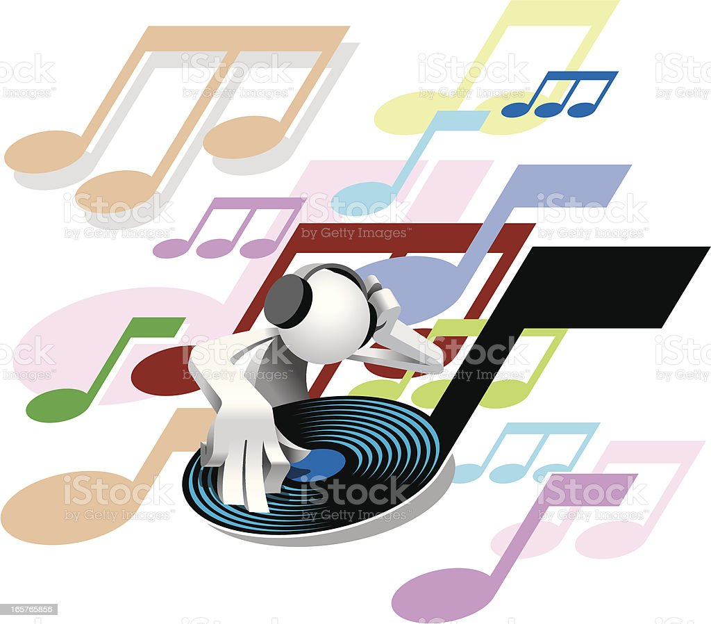 Simplified man Popular Disco DJ royalty-free stock vector art
