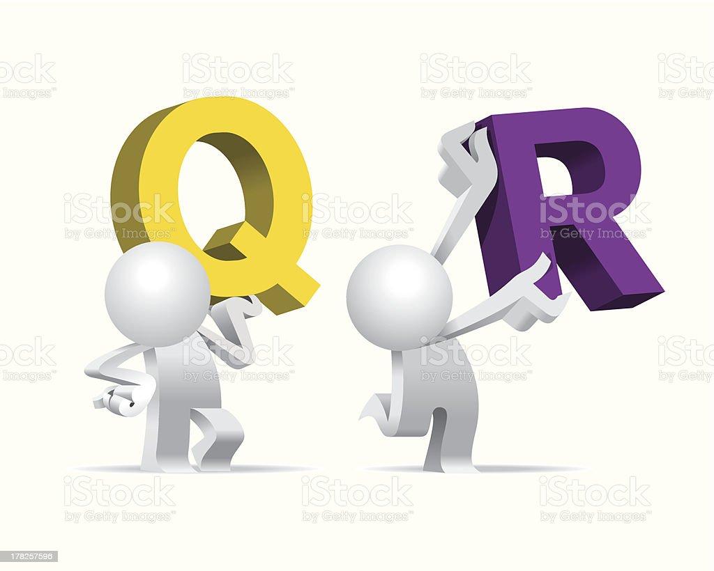 Simplified man Presenting Big Giant Alphabet Q & R royalty-free stock vector art